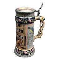 """10 1/4"""" Vintage High Quality German Stein With Pewter Lid & Parrots"""