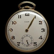 1942 Elgin Gold Filled Open Face 15J Pocket Watch Runs Well
