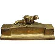 """Cast Brass Double Inkwell & Pen Stand With English Bulldogs Signed """"K. Csadek"""" Vienna Ca 1900"""