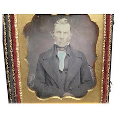 Hand-coloured Daguerreotype of Dapper Gentleman Blue Shirt 1/6th Plate