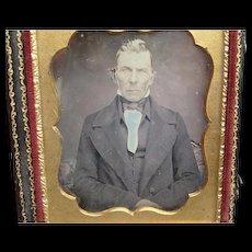 Hand-coloured Daguerreotype of Dapper Gentleman Blue Shirt 1/6th Plate