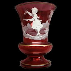 Large Mary Gregory Cranberry Glass Vase