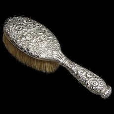 Antique Tiffany & Co Sterling Silver Floral Repousse Hair Brush Circa 1900
