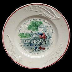 Staffordshire Transfer Motto Plate Ca 1825 A Rolling Stone Gathers No Moss