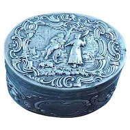 Antique Continental Dutch Silver Box With Repousse Decoration