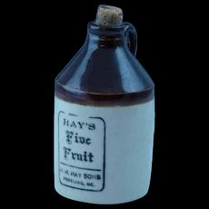 Old Stoneware Advertising Jug Hay's Five Fruit Portland Maine Whiskey H. H. Sons