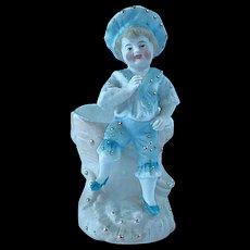Antique German Bisque Porcelain Match Holder Victorian Child
