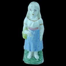 Antique Staffordshire Miniature Figurine Girl With Basket Ca 1820