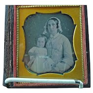 1\6th Plate Daguerreotype Dag Of A Woman Holding Child With Pink Cheeks