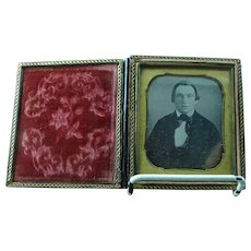 1\6th Plate Daguerreotype Dag Of A Dapper Young Man In Silk Scarf