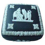 Vintage Black Wedgwood Jasperware Neo-classical Trinket Box