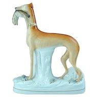 "Large 11 /12"" Tall Antique English Staffordshire Dog Whippet Greyhound Figurine Ca 1850"