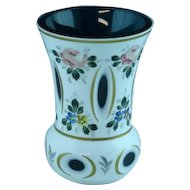 Beautiful White Cut To Teal Green Bohemian Glass Vase With Pink Roses