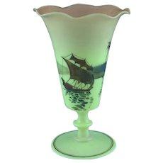 "Rare Large 10 1/2"" Mt Washington Burmese Glass Vase With Burmese Scene"