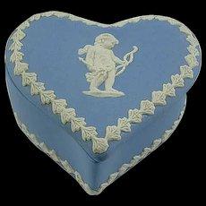 Blue English Hudson Jasperware Heart Shaped Trinket Box