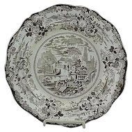 English Staffordshire Brown Transfer Plate Grecian Scenery Ca 1825