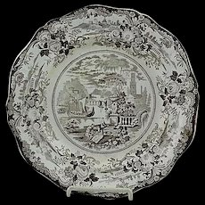 English Staffordshire Brown Transfer Plate Grecian Scenery Ca 1825