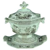 3 Piece English Staffordshire Transfer Sauce Tureen Lozere By Challinor Ca 1845