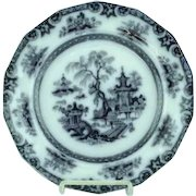 """Antique 9 1/2"""" Staffordshire Mulberry Plate Hong Pattern Ca 1850"""