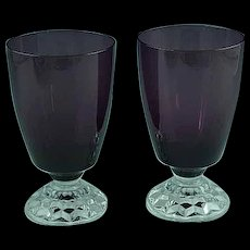 Pair Of Amethyst Elegant Glass Water Goblets with Clear Feet - Red Tag Sale Item