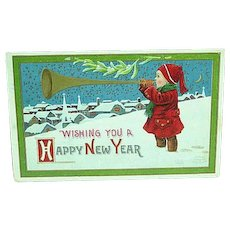 1913 Embossed New Years Postcard Artist Signed Wall - Red Tag Sale Item