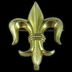 Victorian Gold Filled Fleur De Lis Watch Pin