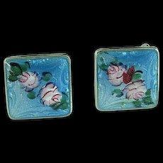 Vintage Pair Of Sterling Silver & Enamel Earrings With Roses