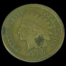 1907 Indian Head Penny One Cent Full Liberty & Diamonds