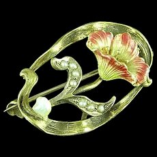 Edwardian 10k Gold & Enamel Painted Flower Pin With Seed Pearls