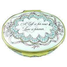 Halcyon Days Enamel Box A Gift Is For Now Love Is Forever