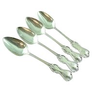 4 19th Cen Coin Silver Teaspoons By Michael Gibney Of New York NY Ca 1835