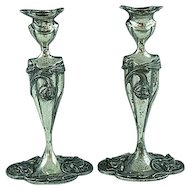"Antique Pair Of Silverplate Art Nouveau 8"" Candlesticks Meriden CT"