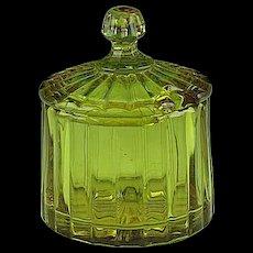 RARE Signed Heisey Glass Crystolite Amber Mustard Condiment Jar Pot