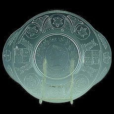 "1887 English Pressed Glass Queen Victoria 10"" Cake Plate Portrait"
