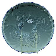 "Cambridge Caprice Moonlight Blue Footed Cake Plate Server - 11 1/2"" Wide"