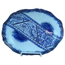 Antique Aesthetic Staffordshire Paisley Flow Blue Serving Dish Ca 1860