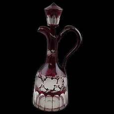 "Old 14"" Bohemian Etched Glass Ruby Red Decanter Bottle Pitcher Stopper"