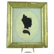 Early 19th Century Folk Art Cut Out Silhouette Of Lady With Water Color Highlights