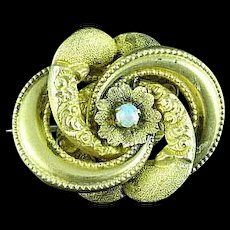 Antique Victorian Gold Filled Knot Brooch Pin With Opal Center