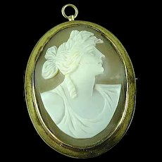 Antique Victorian Gold Filled Brooch Pin Pendant Cameo