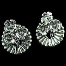 Pair Of Art Nouveau Danecraft Sterling Silver Floral Earrings