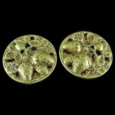 """Pair Of 1 1/8"""" Antique Brass Buttons Embossed With Strawberries"""