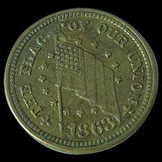 """1863 Civil War Token, """"The Flag of Our Union"""" Lightly Circulated"""