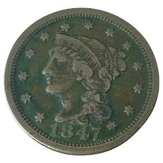 1847 Braided Hair Large US Cent Coin Fine Estate Find