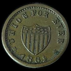 1864 Civil War Token Union For Ever With Shield