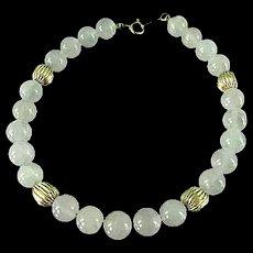 """Vintage 14k Gold & Rose Quartz Bracelet 7"""""""