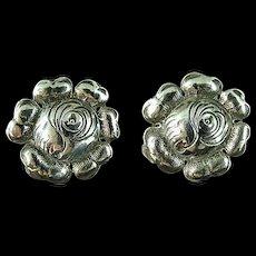 "Vintage 1"" Sterling Silver Flower Screw Back Earrings"