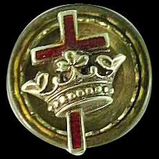 Antique Masonic Knight Templar 14k Gold Cross & Crown Enamel Screw Back Lapel Pin