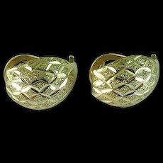 Pair Of French Clip 14K Gold Diamond Engraved Earrings