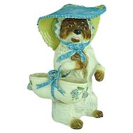 """Rare 11"""" Staffordshire Figurine Of A Dog With a Hat and Basket"""